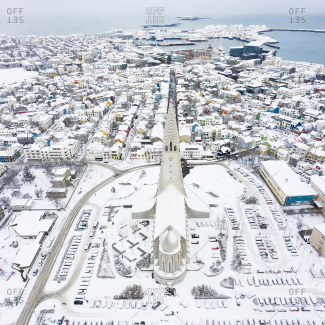 Reykjavik, Iceland - May 21, 2019: Amazing church in city near shore in winter