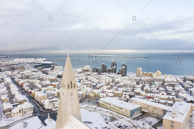 Reykjavik, Iceland - May 21, 2019: Amazing high church in town in winter on seashore