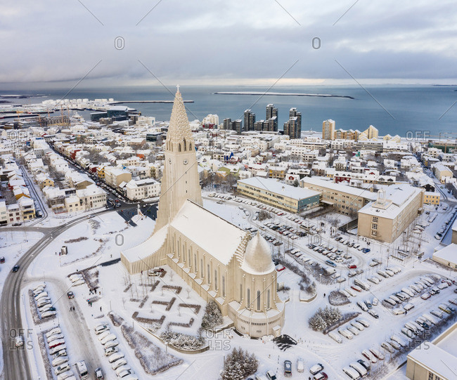Reykjavik, Iceland - May 21, 2019: Amazing high cathedral in town in winter on seashore