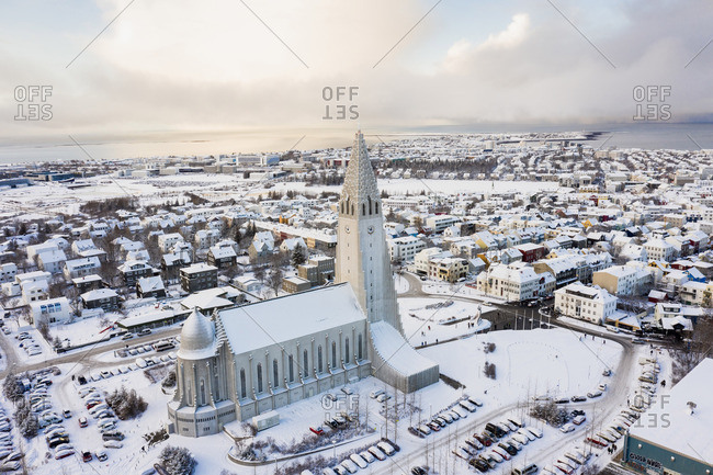 Reykjavik, Iceland - May 21, 2019: Amazing cathedral in town in winter on seashore