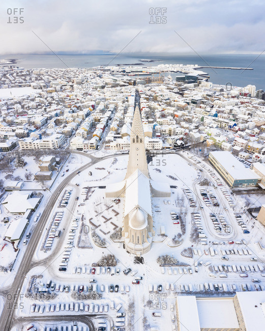 Reykjavik, Iceland - May 21, 2019: Cathedral in town in winter on seacoast