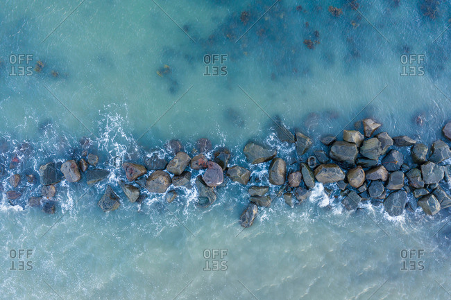 Stones between water surface