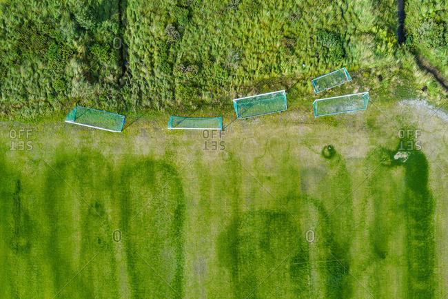 Football gates near field and trees