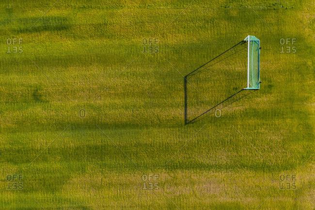 Football gates on green field