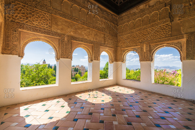 Moorish flooring and archways, generalife, Granada, Spain