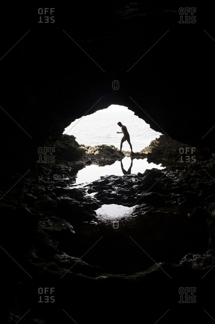 Man in a cove in Barbados