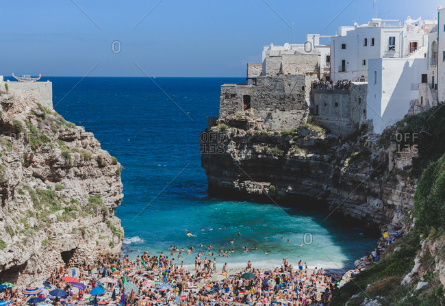Polignano a Mare, Bari, italy - August 15, 2014: Polignano a mare, south Italy sea village lagoon.