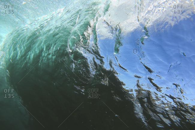 Beautiful underwater view of curling waves