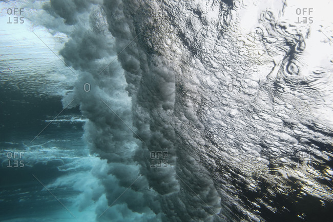 Powerful waves crashing from below