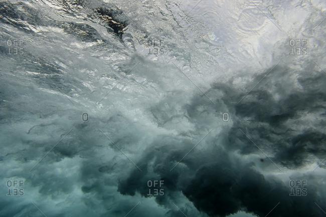 Underwater view of waves in the ocean