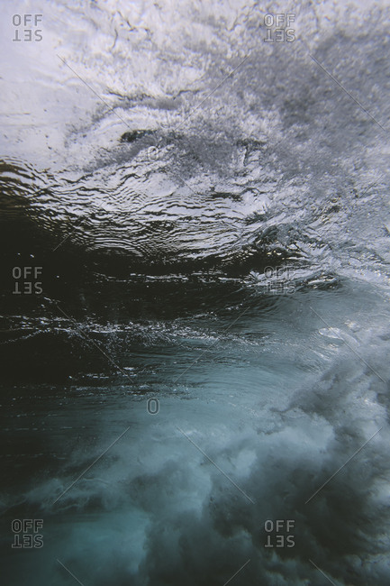Underwater view of ocean waves