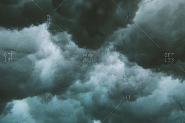 Underwater view of cloudy waves in the ocean