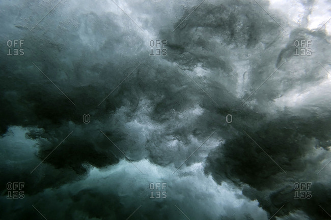 View of powerful waves in the ocean from underwater