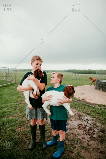 Two boys holding baby goats