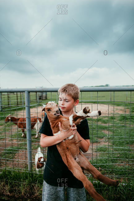 Boy holding a young goat