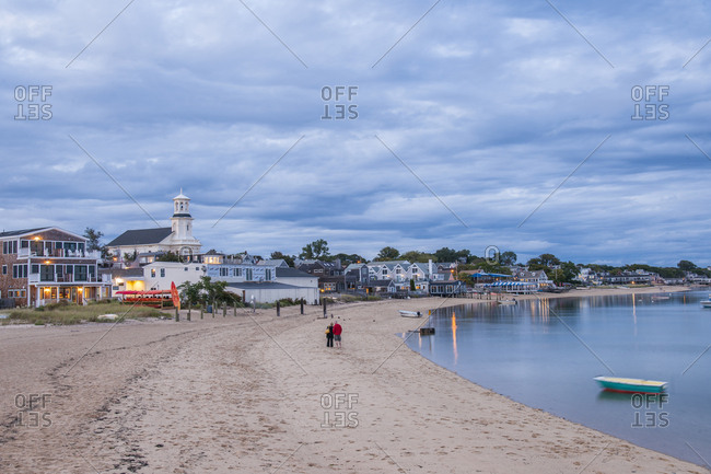 USA, Massachusetts, Provincetown - September 17, 2013: Small coastal resort town harbor