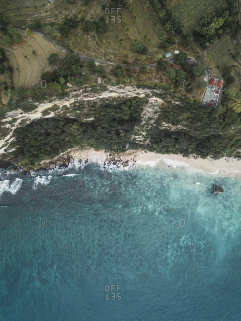 Aerial view of Balinese temple, Suwehan beach, Nusa Penida island, Bali, Indonesia