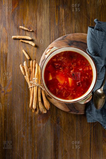Red vegetables soup, borscht