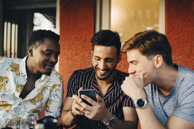 Cheerful male friends using smart phone while sitting at back yard