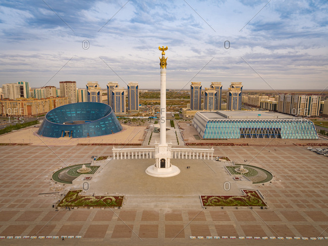 September 28, 2018: Aerial view of Monument Kazakh Eli , Nur Sultan, Kazakhstan. Including the Palace of Creativity and the Palace of Independence.