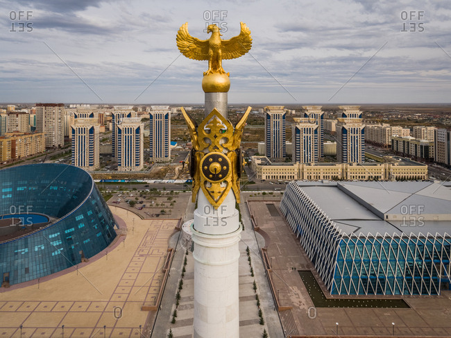 September 28, 2018: Aerial view of Monument Kazakh Eli, Nur Sultan, Kazakhstan. With views towards the Millennium Park.