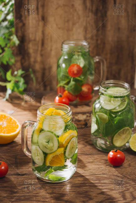 Studio shot of detox water with vegetables and fruits