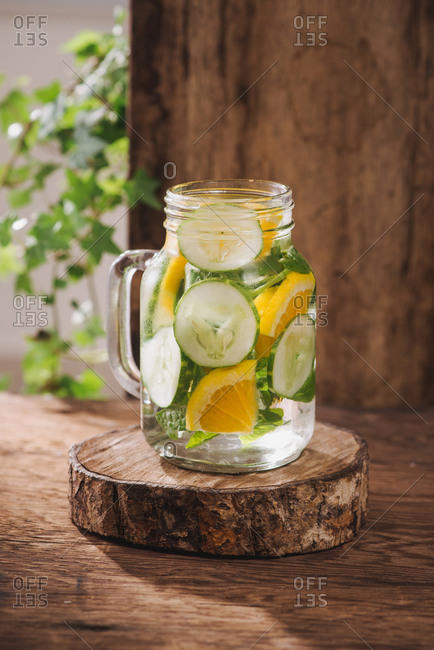 Detox water with vegetables and fruits for  a healthy diet and weight loss