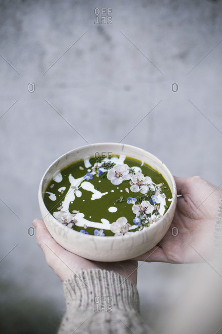Hands serving a bowl of green soup seasoned with sour cream and edible flowers