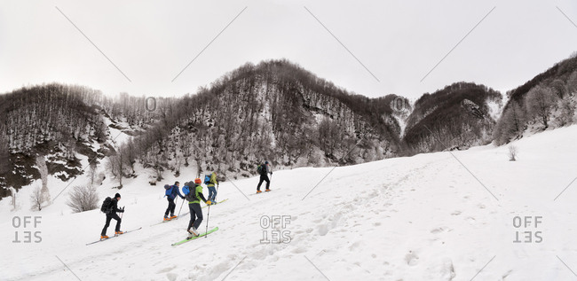 Georgia- Caucasus- Gudauri- people on a ski tour