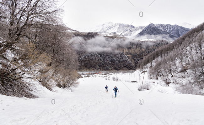 Georgia- Caucasus- Gudauri- two people on a ski tour