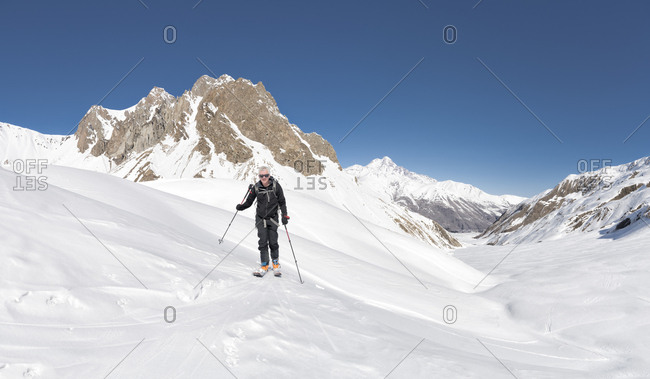 Georgia- Caucasus- Gudauri- man on a ski tour