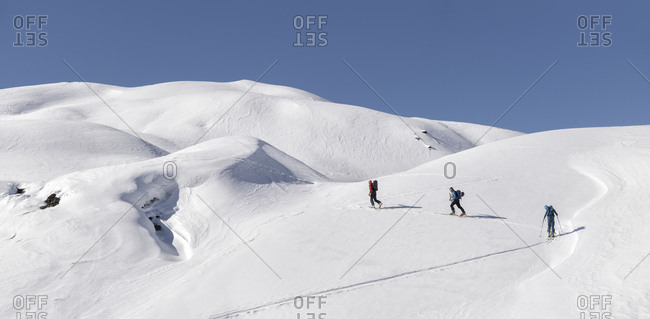 Georgia- Caucasus- Gudauri- people on a ski tour