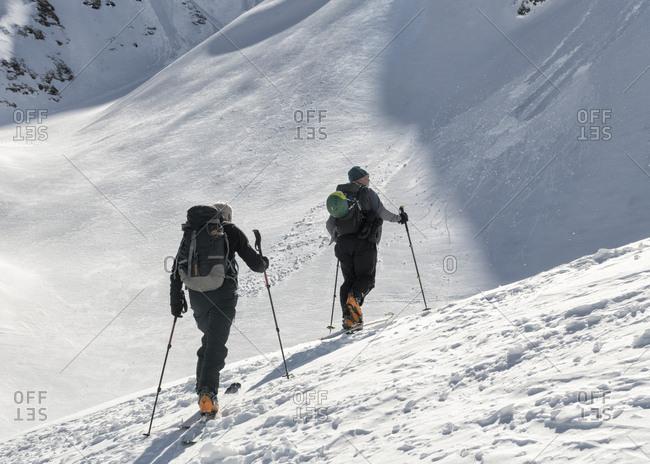 Georgia- Caucasus- Gudauri- two people on a ski tour