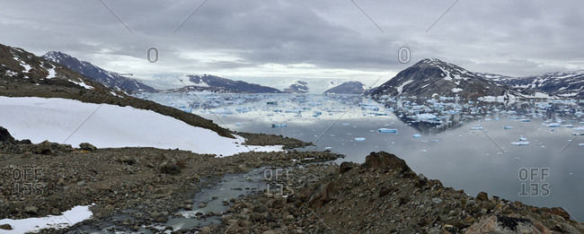 Greenland- East Greenland- Panoramic view of Johan Petersens Fjord