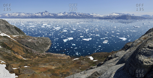 Greenland- East Greenland- Panoramic view of Fjord Sermilik
