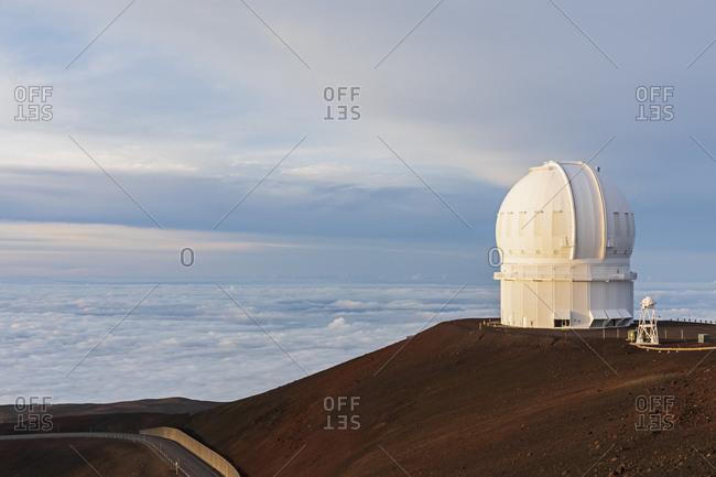 USA- Hawaii- Mauna Kea volcano- telescope at Mauna Kea Observatories at dusk