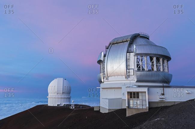 USA- Hawaii- Mauna Kea volcano- telescopes at Mauna Kea Observatories at sunset