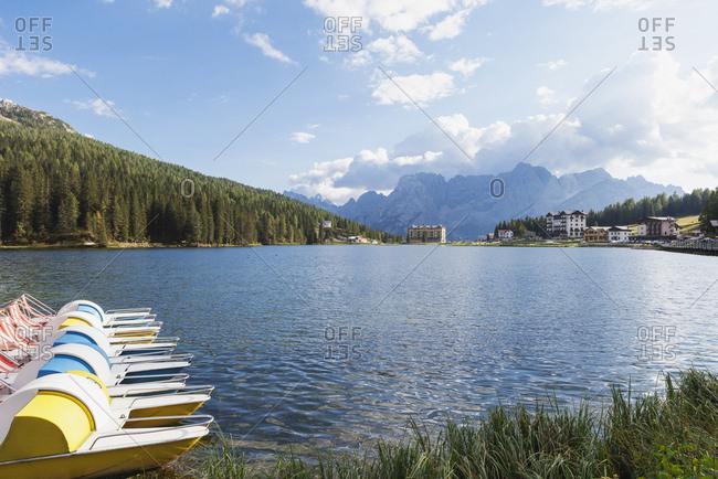 Italy- Province Bolluno- Dolomites- Padle boats on Misurina Lake- Tre Cime di Lavaredo region