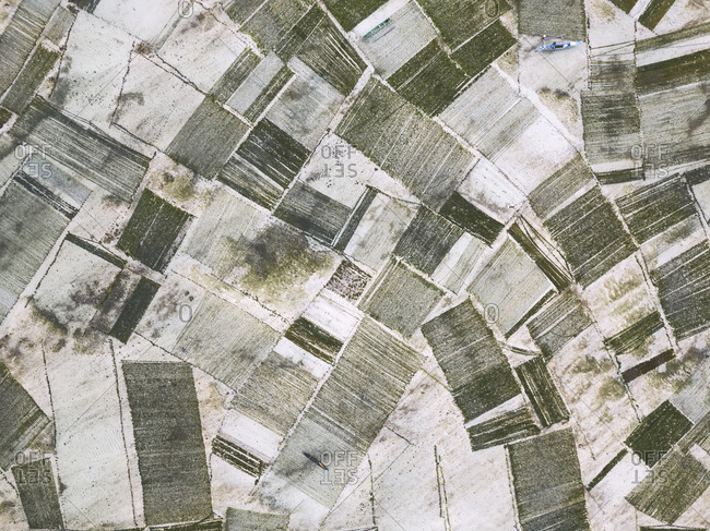 Indonesia- Sumbawa- Kertasari- Aerial view of seaweed plantation