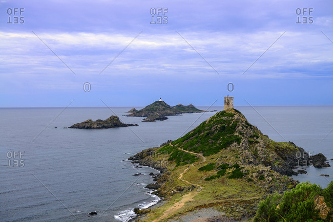 France- Corsica- view over Illes Sanguinaires and genoese tower from the Pointe de la Parata
