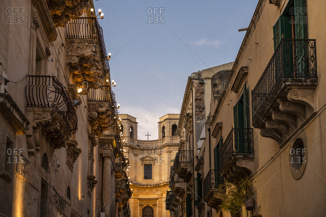 Sicily- Noto- view to Chiesa di Montevergine in the evening