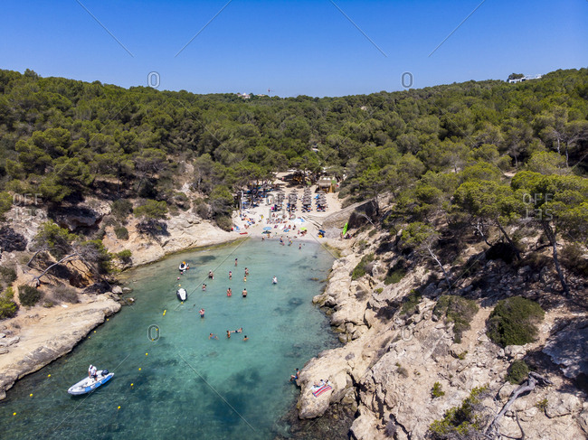 Spain- Mallorca- Aerial view of bay Cala Falco