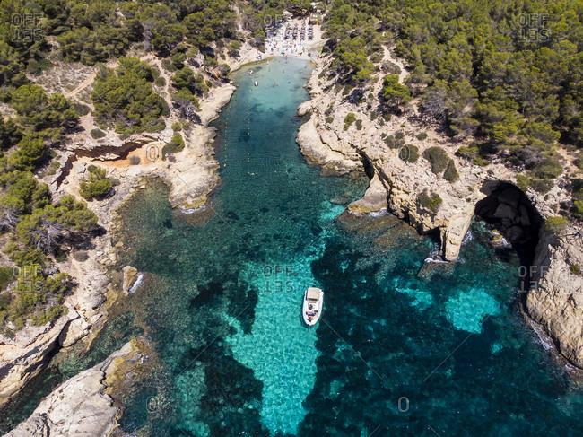 Spain- Mallorca- Aerial view of bay Cala Falco and Cala Bella Donna