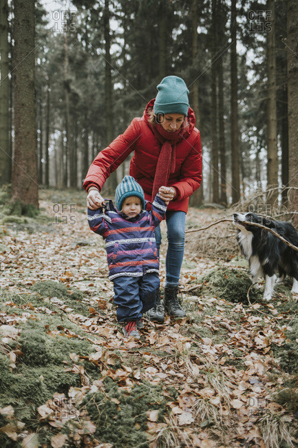 Mother with little daughter and Border Collie in autumnal forest