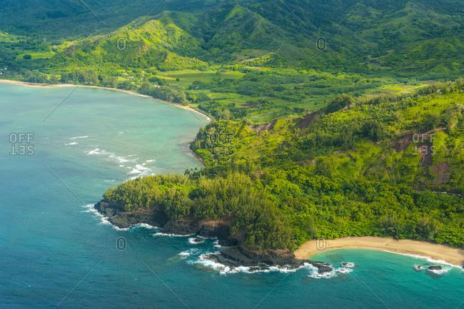 Hawaii- Kauai- Aerial of the Na Pali Coast- Na Pali Coast State Wilderness Park