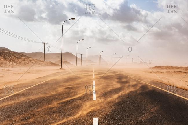 Sultanate Of Oman- Ras al Had- Desert road in a sand storm