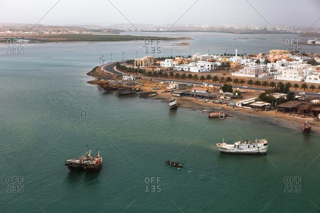 Oman- Sur- townscape with harbor