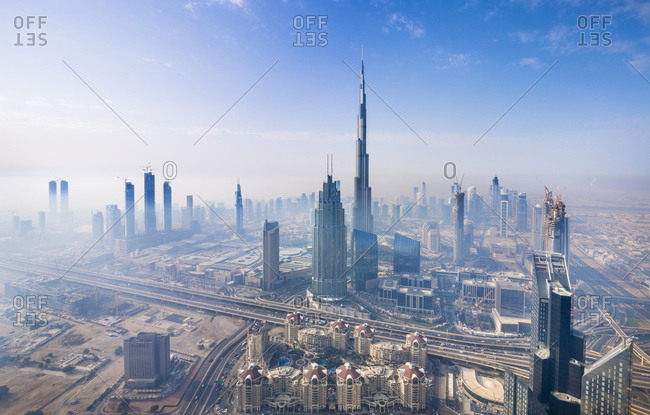 United Arab Emirates- Dubai- cityscape with Burj Khalifa