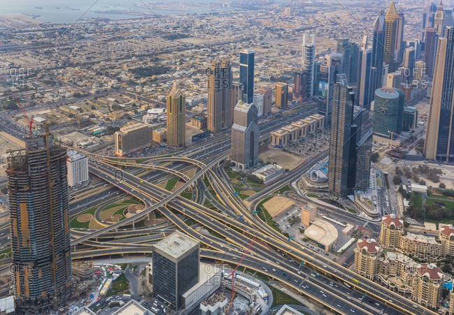 United Arab Emirates- Dubai- cityscape with Sheikh Zayed Road