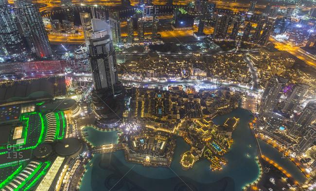 United Arab Emirates- Dubai- Burj Khalifa Lake and Souq Al Bahar at night